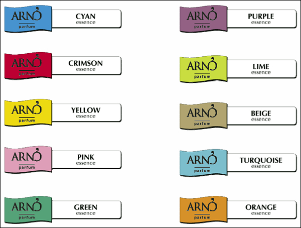 Profumi per ambienti Escent Arnò, scala cromatica profumazioni